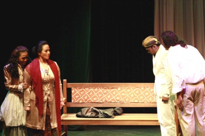 A mother's love: Nyai Ontosoroh (left) and her daughter Annelies, played by Agni Melati, face up to Nyai's husband Mellema and Minke in one of the scenes of the play.